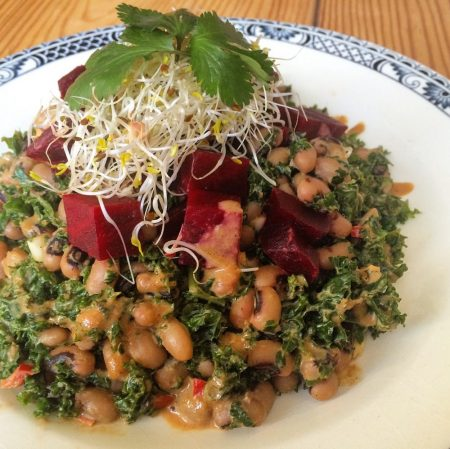 Raw Kale Salad with Black Eyed Beans & Tahin Dressing